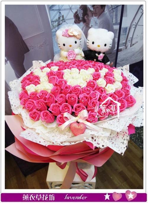 香氛玫瑰101朵~凱蒂貓款a081603