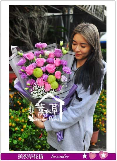 玫瑰與桔梗花束106011509