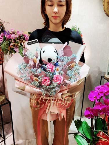 史努比&乾燥花-花束設計107112904