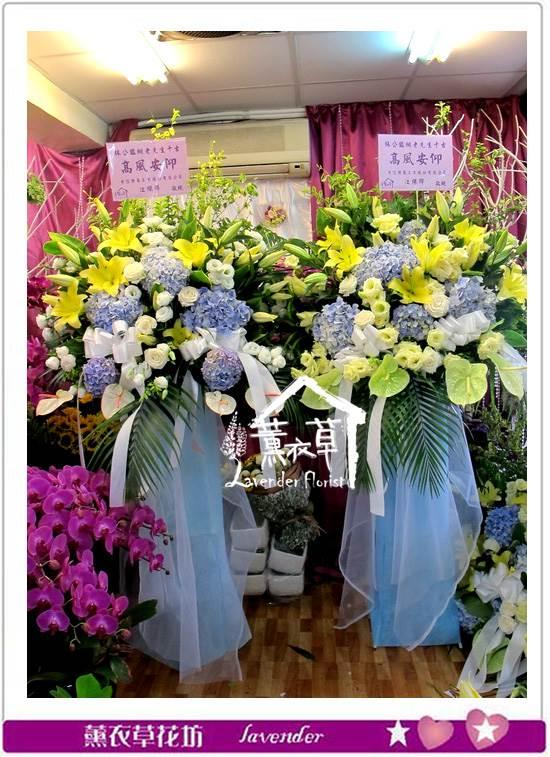 繡球花藍一對aa651