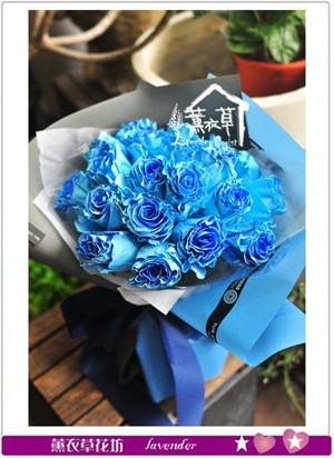 荷蘭進口~藍色漸層玫瑰花束 107080305