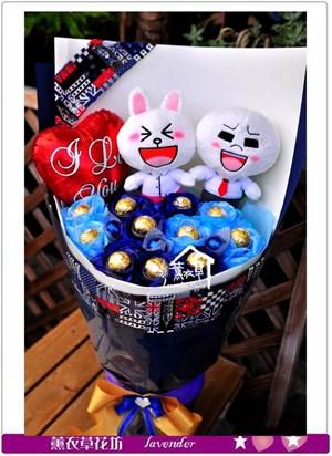 兔兔&饅頭人花束c060816