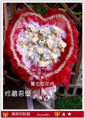 可愛熊熊愛心花束G881