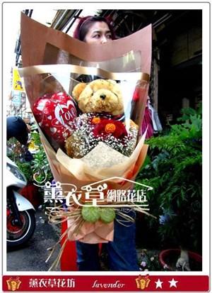 畢業熊熊~大隻熊~<BR>+10朵紅玫瑰y30613