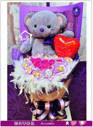 紫色熊熊花束a011606