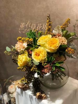 庭園玫瑰&玻璃花器107120608